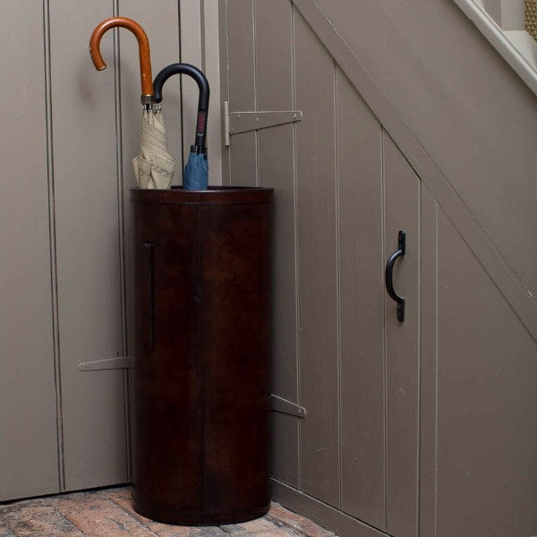 Leather Umbrella Stand - Brown