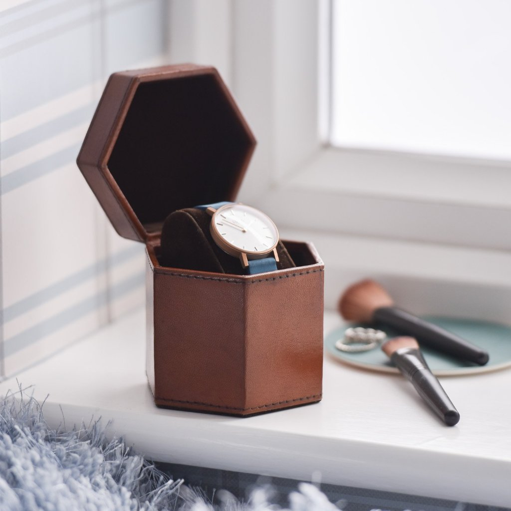 Ladies Hexagonal Leather Watch Box - Tan