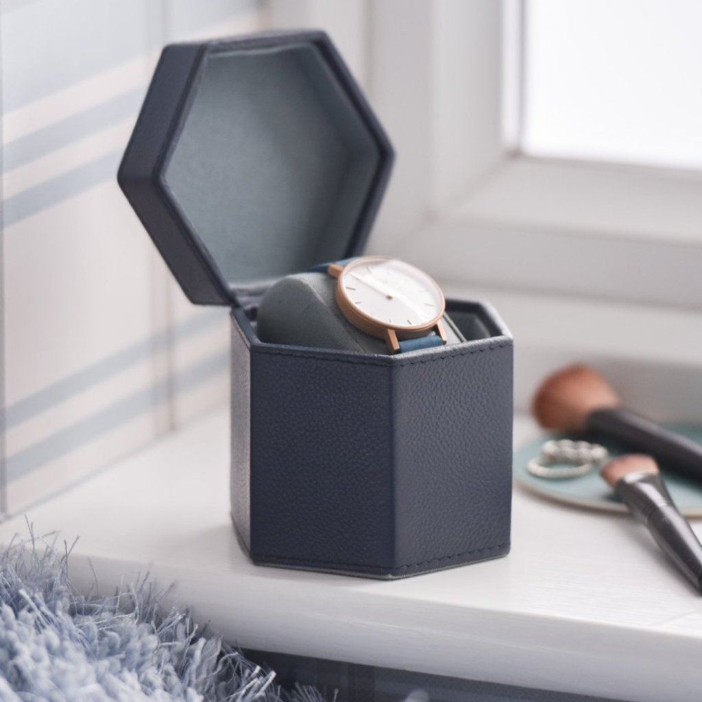 Ladies Hexagonal Leather Watch Box - Ink