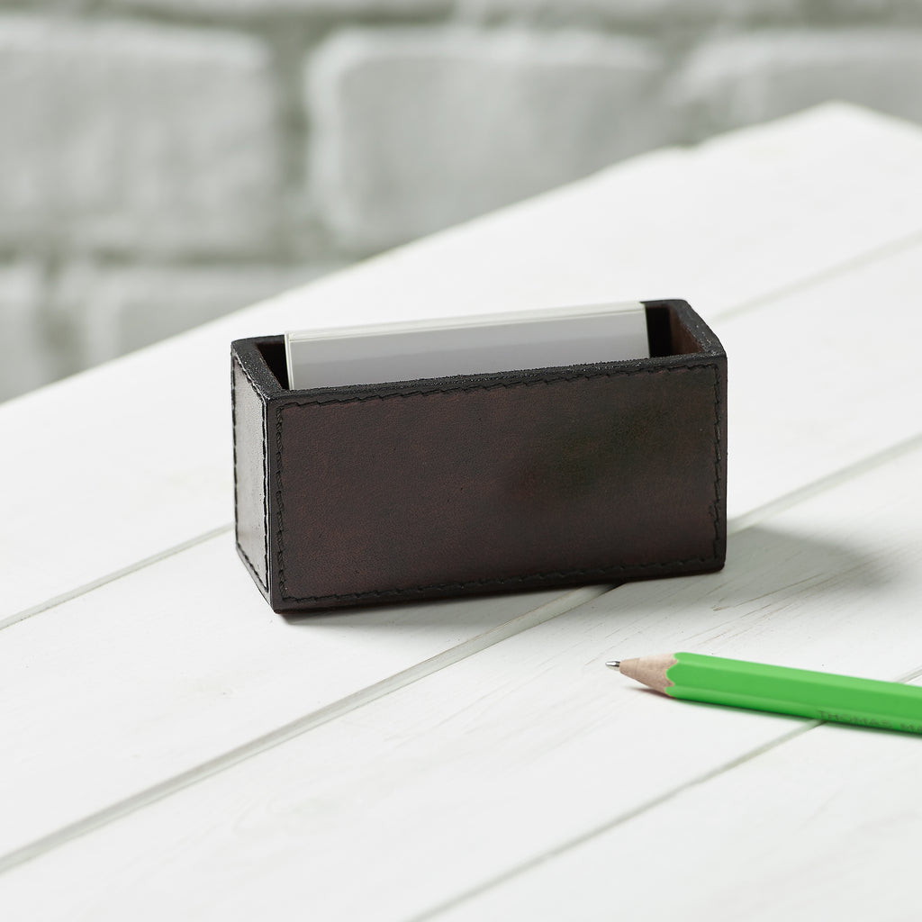 Leather Business Card Holder - Brown