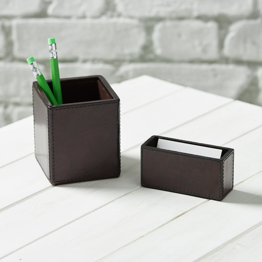 Leather Desk Tidy Set - Brown