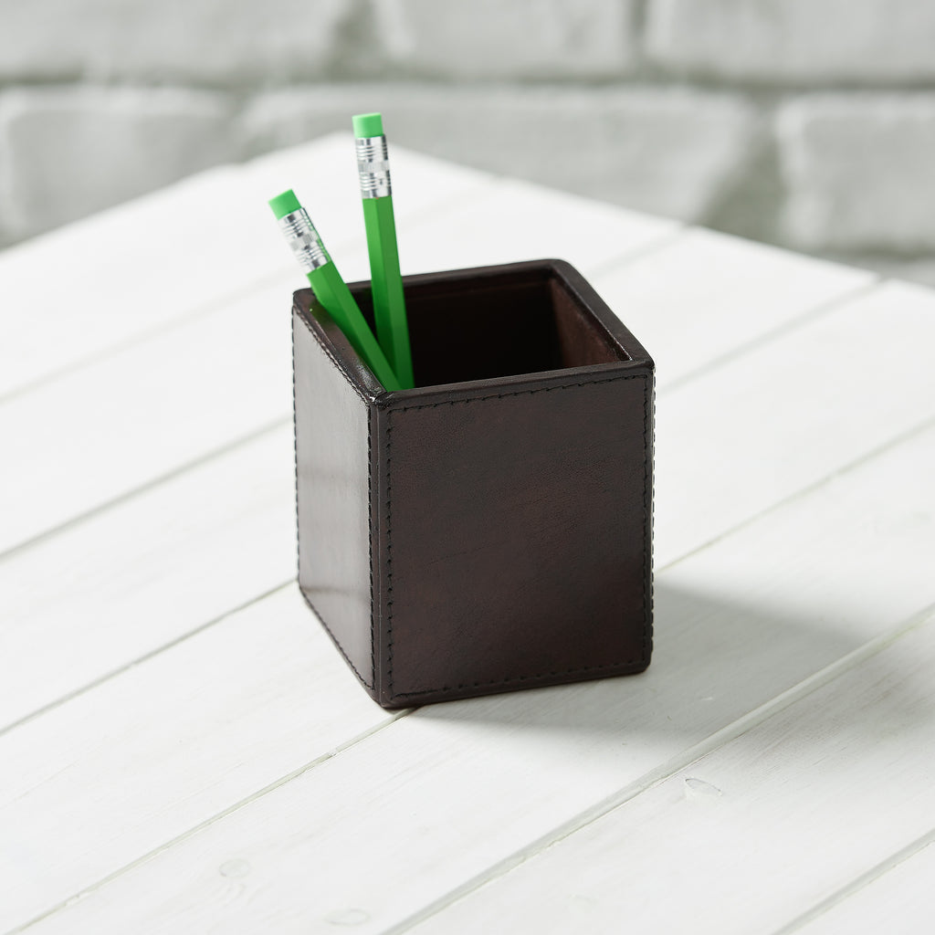 Leather Pen Pot - Brown