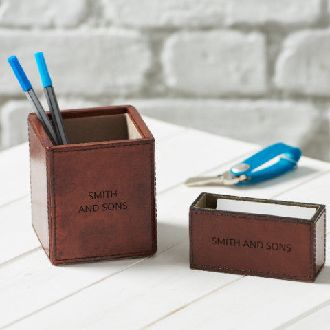 Leather Desk Tidy Set - Tan