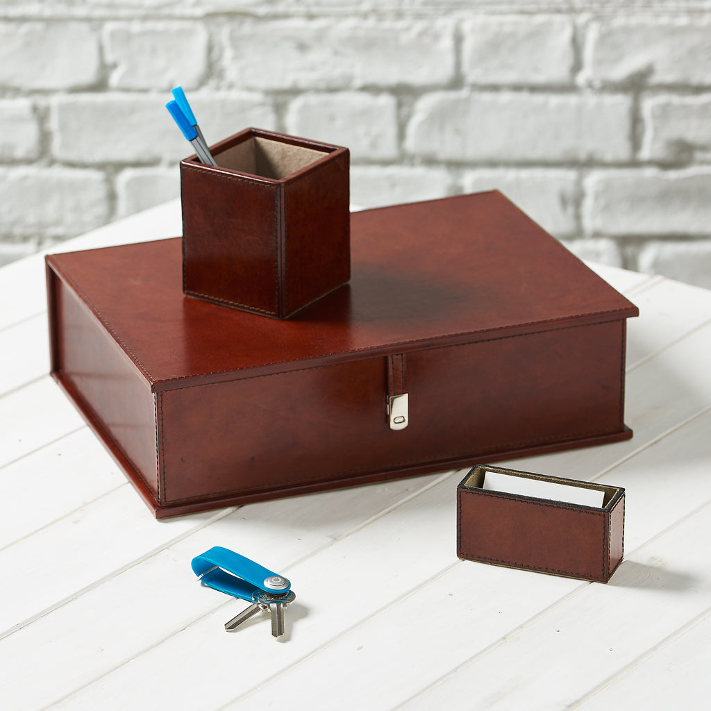 Leather Desk Set, Cambridge - Tan