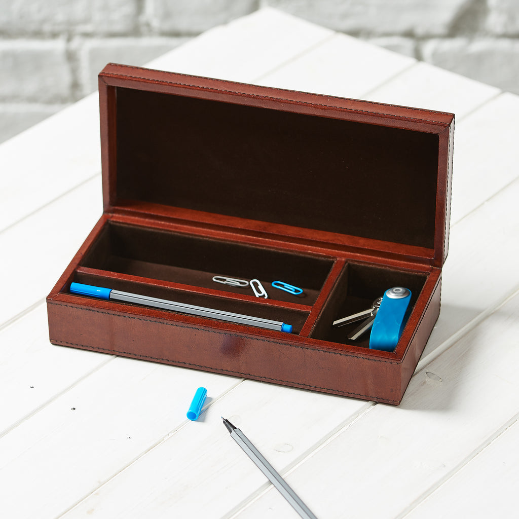 Leather Pen and Desk Tidy Box