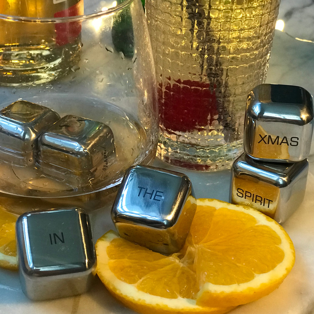 'In the Xmas Spirit' Stainless Steel Ice Cubes