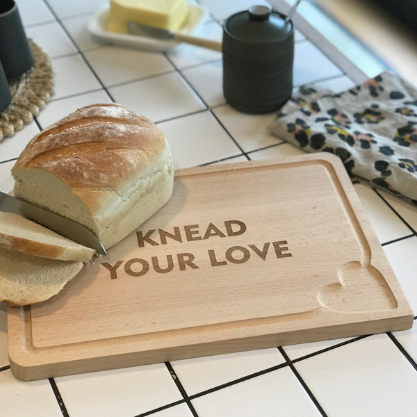 'Knead Your Love' Wooden Bread Board