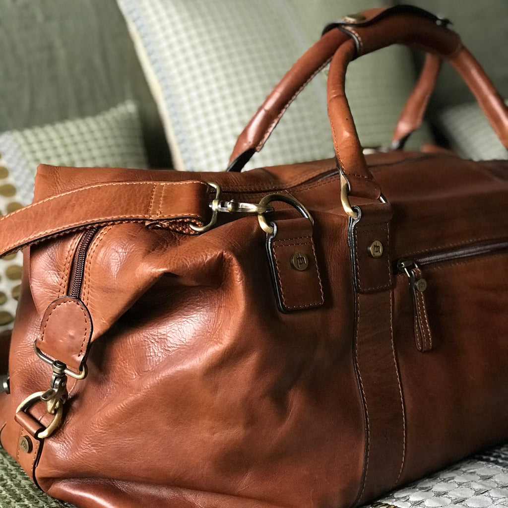 Personalised Luxury Leather Weekend Holdall