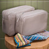Gents Leather Wash Bag - Stone
