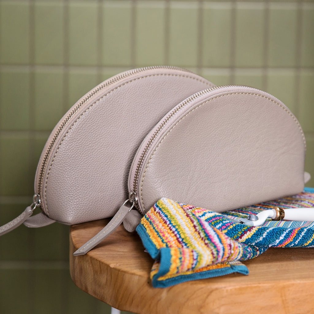 Leather Curved Wash Bag - Stone