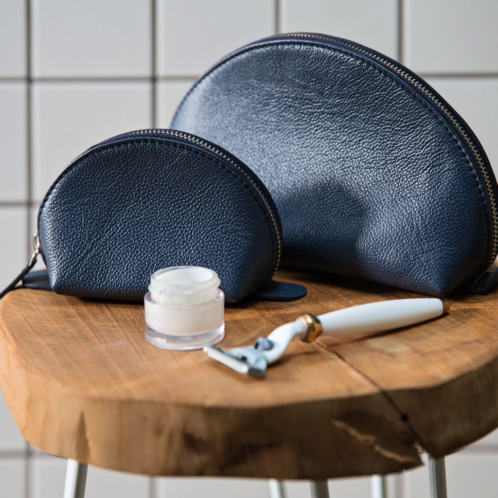 Leather Curved Wash Bag - Ink