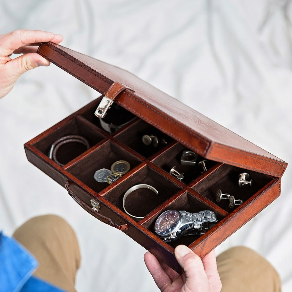 Leather Cufflink Box Large