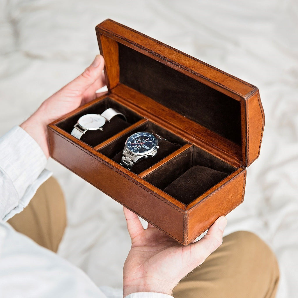 Leather Watch Box Large with curved lid