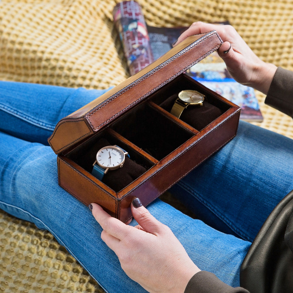 Ladies Leather Watch Box Large with curved lid
