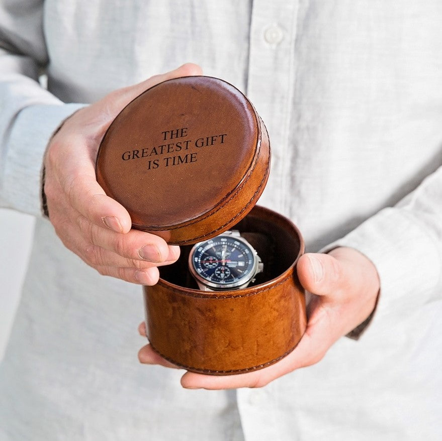 Leather Watch Box Round - Tan