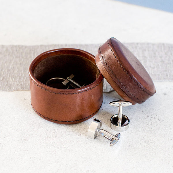 Leather Cufflink Box Round