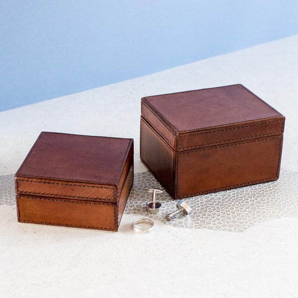 Leather Cufflink Box - Tan