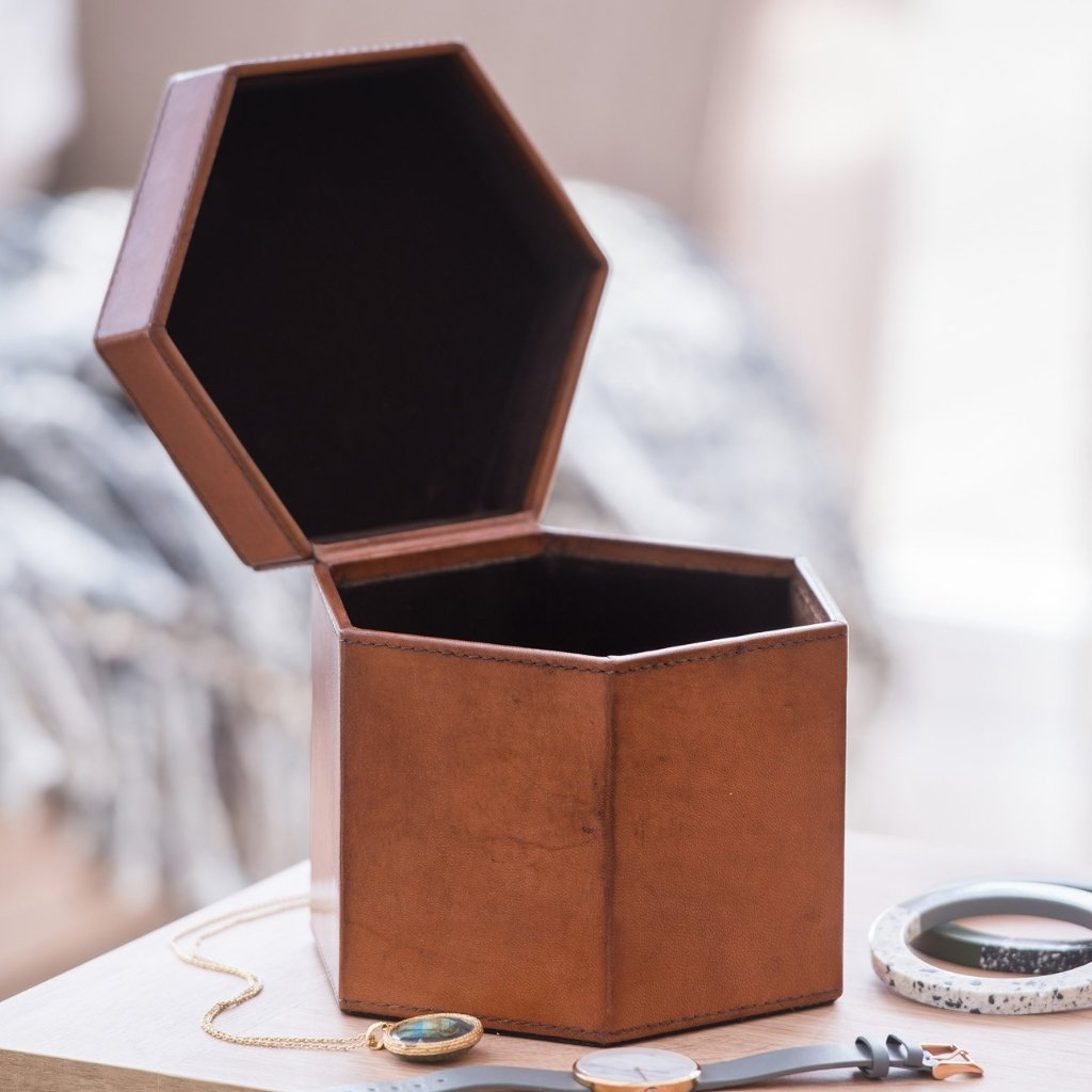 Ladies Hexagonal Leather Jewellery Box - Tan