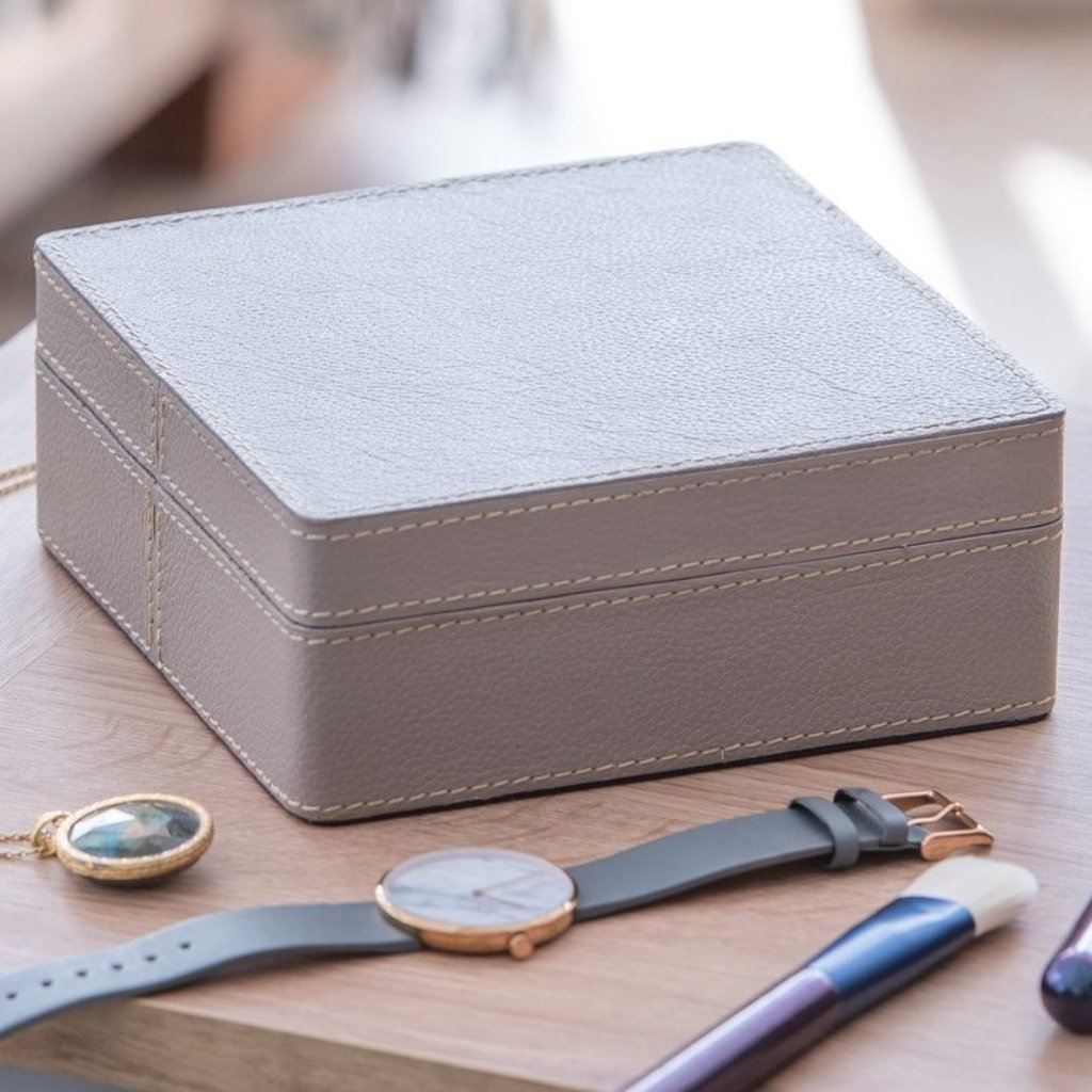 Leather Jewellery Box Square - Stone