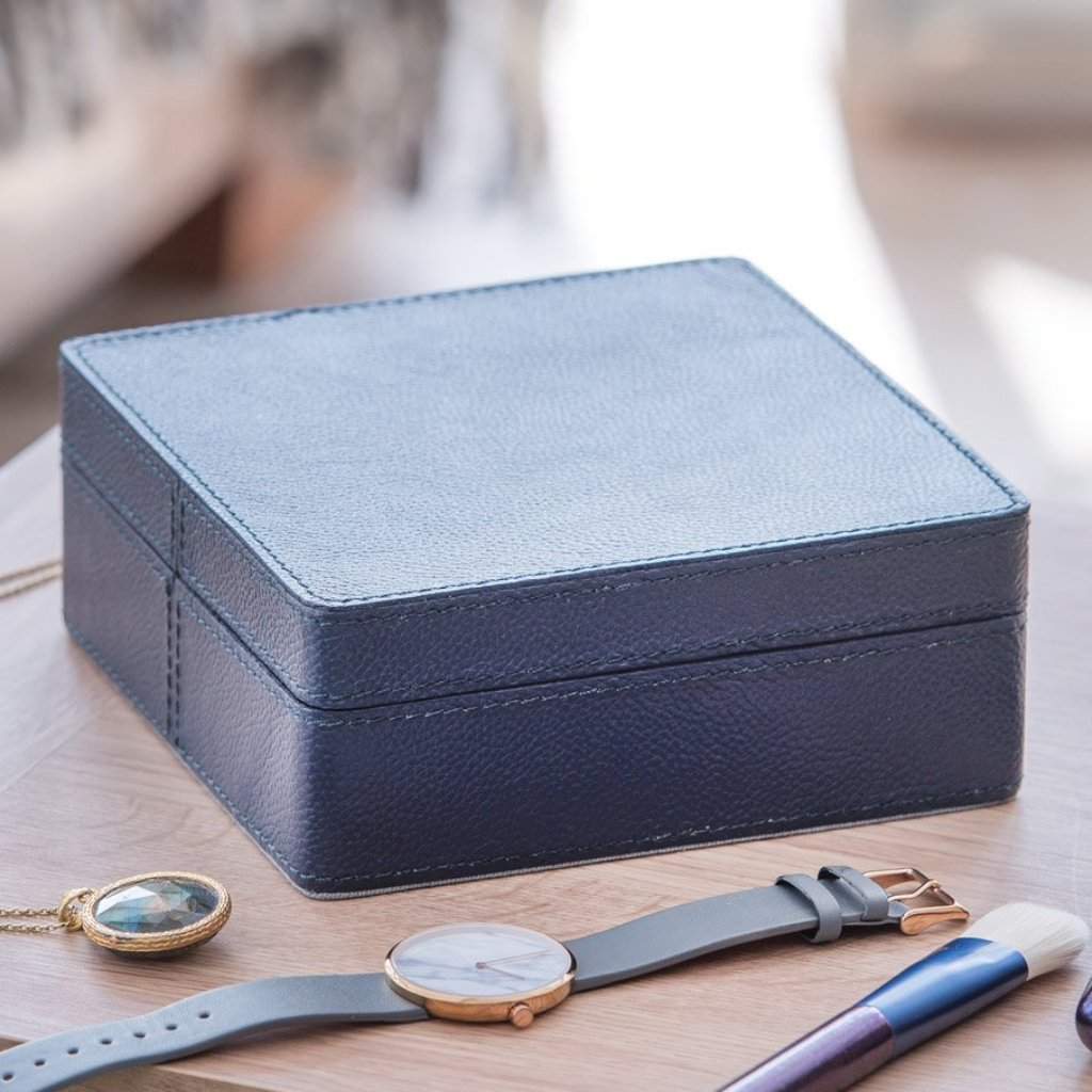 Leather Jewellery Box Square - Ink