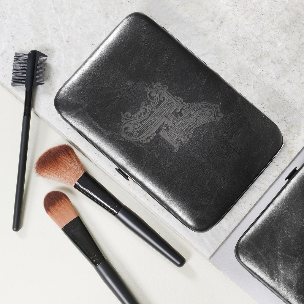 Make Up Brush Kit with Initial - Black