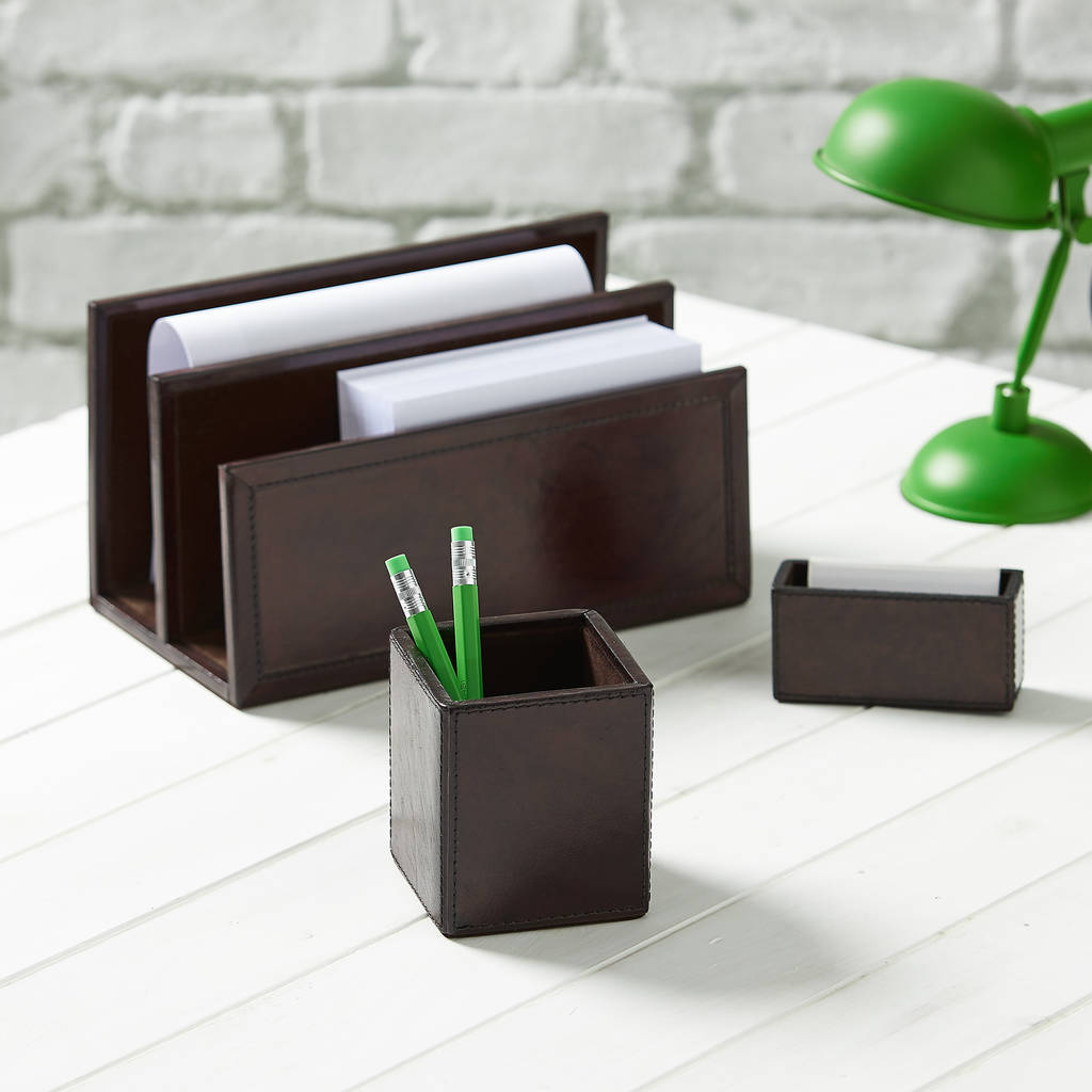 Leather Desk Set, Oxford - Brown