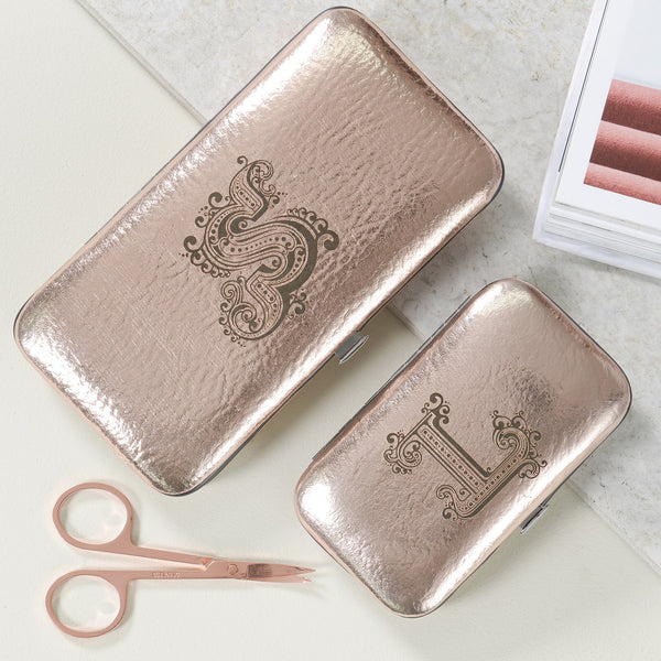 Copper Manicure Set with Initial - 2 sizes
