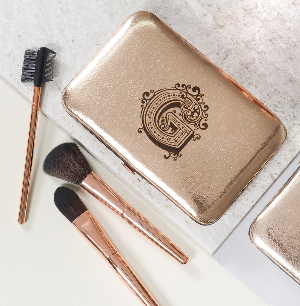 Make Up Brush Kit with Initial - Rose Gold