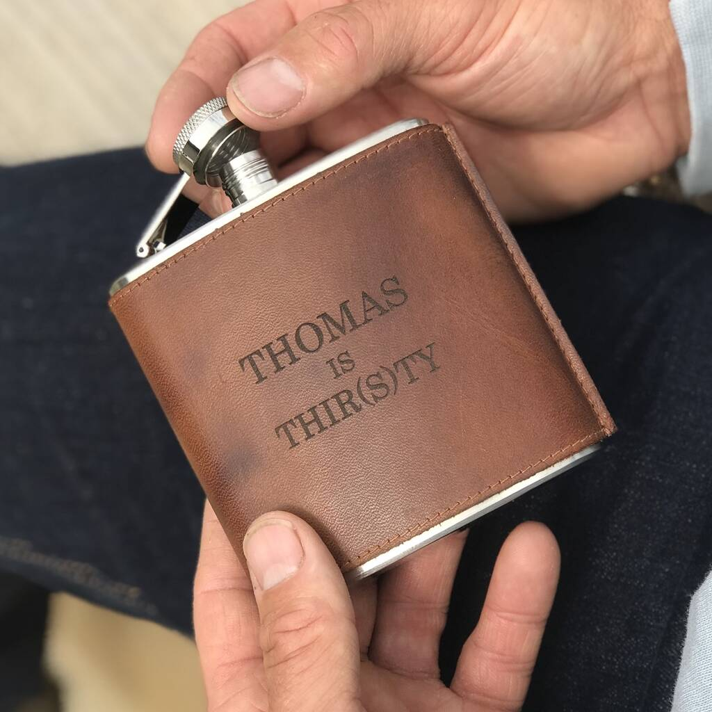 Leather Hip Flask - 30th Birthday
