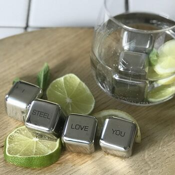 'I Steel Love You' Stainless Steel Ice Cubes