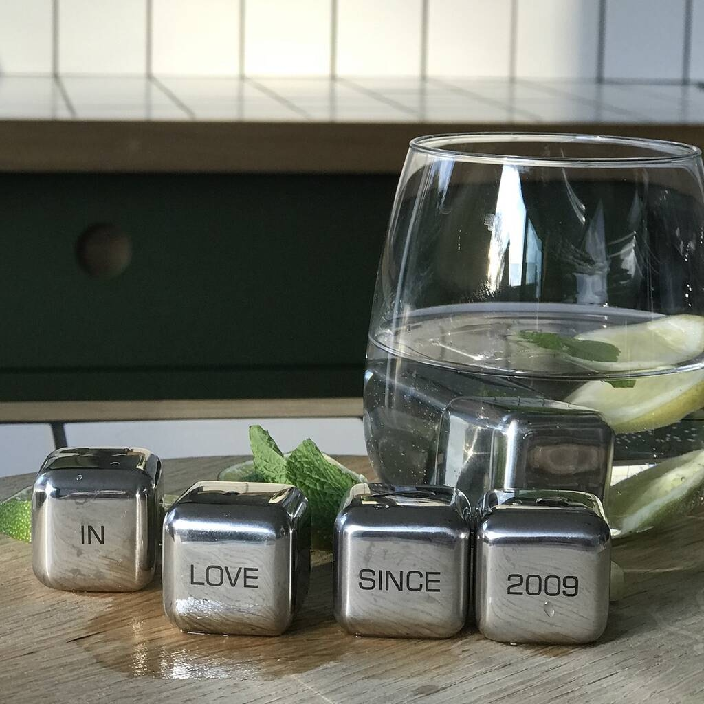 'In Love Since' Stainless Steel Ice Cubes