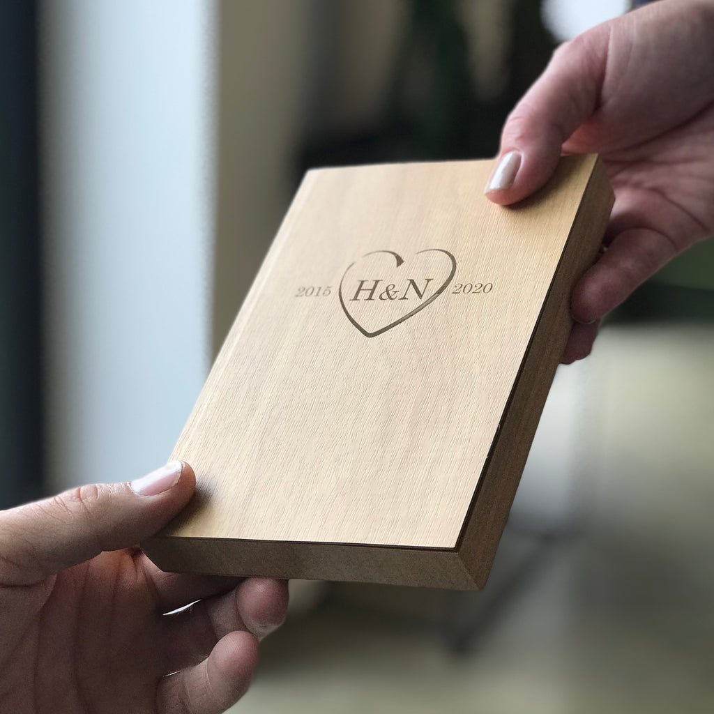 Personalised Wood Notebook - 5th Anniversary Gift