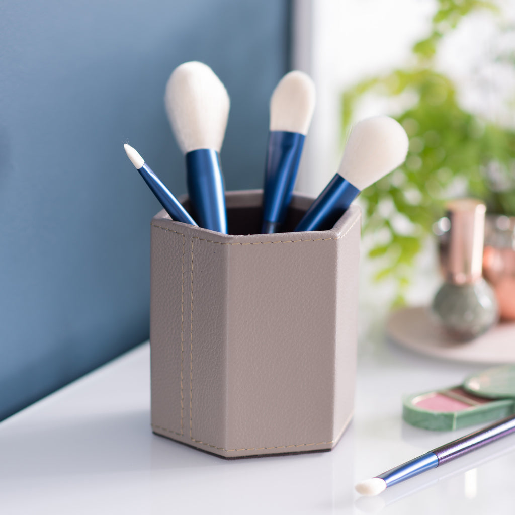 Hexagonal Leather Make Up Brush Pot - Stone