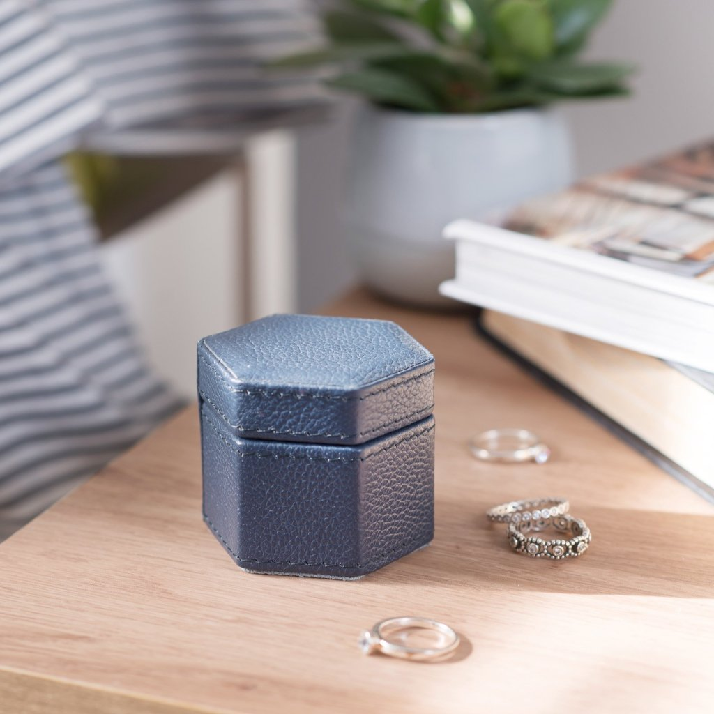 Ladies Hexagonal Leather Ring Box - Ink