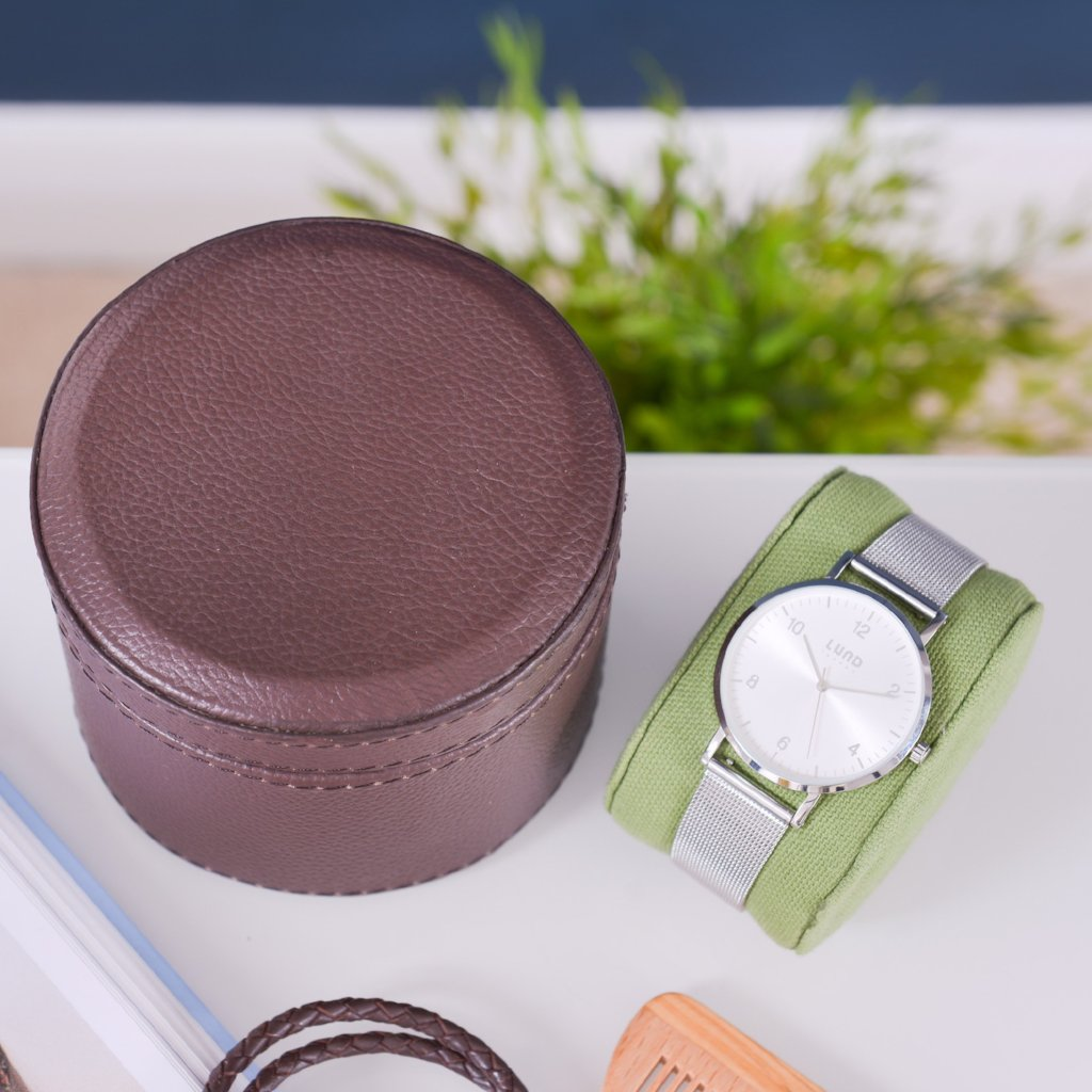 Leather Watch Box Round - Chocolate