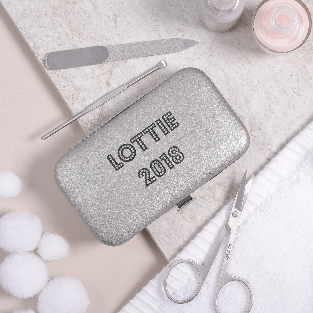 Personalised Manicure Set - Silver Pearl, mini