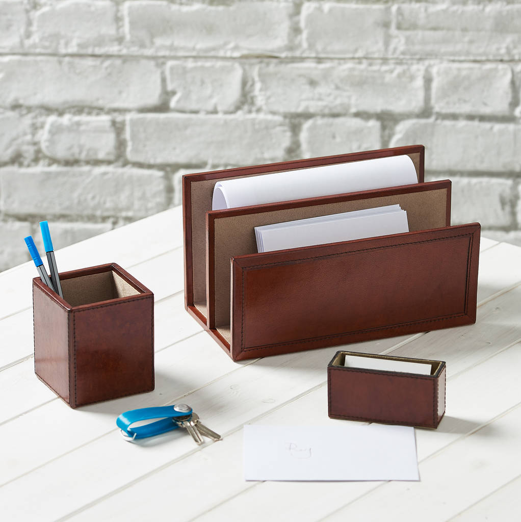 Leather Desk Set, Oxford - Tan