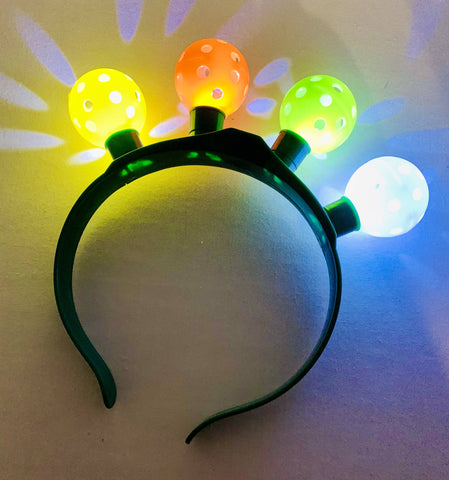 Flashing Pickleball Headband... LED lights with 4 flashing pickleballs... Pickleball love... Pickleball Christmas... Pickleball gift