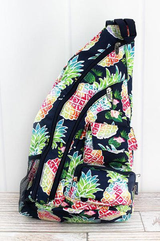 Rainbow Pineapple Sling Backpack