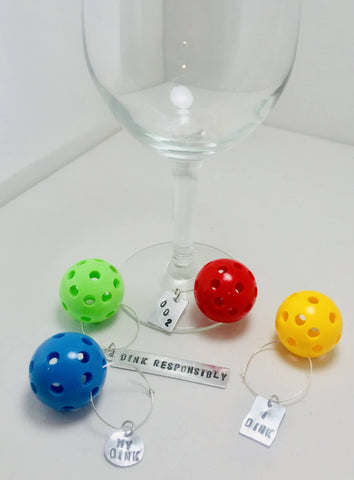 Miniature Pickleball Wineglass Markers