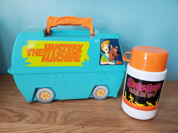 Vintage Scooby Doo Mystery Machine Plastic Lunch Box and Thermos