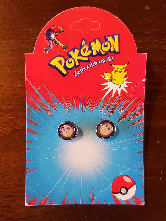 1999 Pokemon Jigglypuff Stud Earrings on card