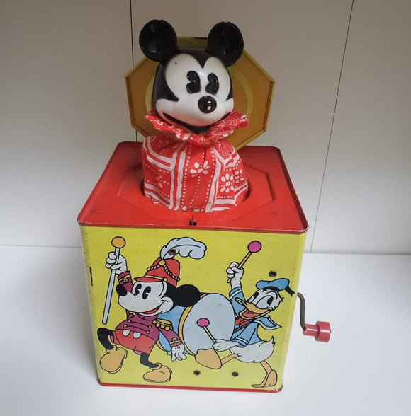 Mickey Mouse tin Jack-In-The-Box by Carnival