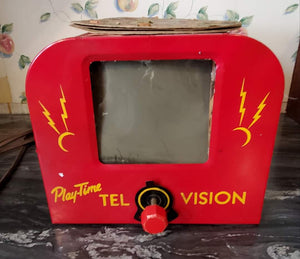 Playtime Tel-O-Vision Tin Toy Television with Disks