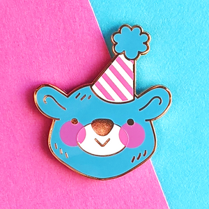 party bear enamel pin by jushmu