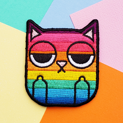 rainbow sass cat embroidered patch by jushmu