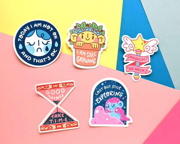 5 weatherproof stickers in the self love sticker pack by jushmu