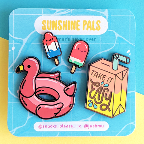 sunshine pals 4 pack enamel pins by jushmu and snacks please