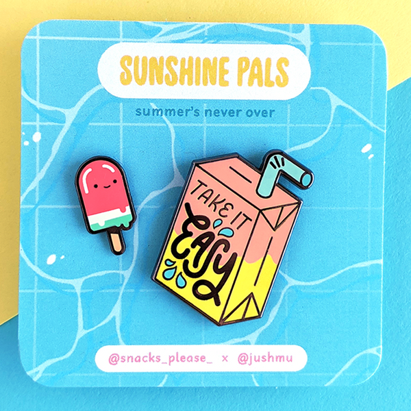 sunshine pals juice box and watermelon popsicle enamel pins by jushmu and snacks please