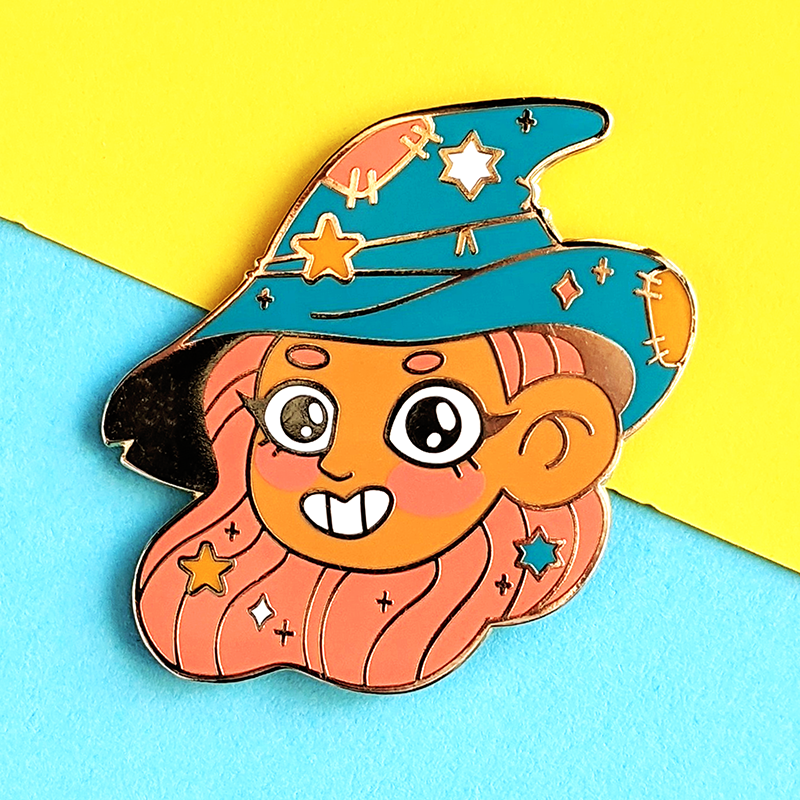 sweet witch enamel pin by jushmu